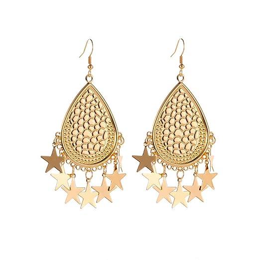 FiedFikt - Pendientes de metal dorado geométricos para mujer ...