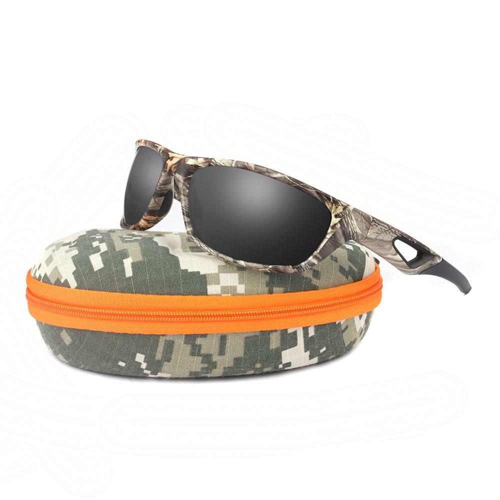 Polarized Sunglasses for Men and Women - Sports Brand Camo Tr90 Unbreakable Frame Dark Gray Lens Youth Baseball Sun Glasses for Hunting Boating UV 400