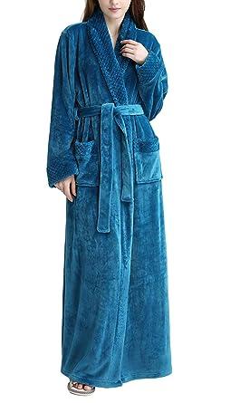 Luxury Women Full Length Velour Fleece Dressing Gown Housecoat Robe with  Belt 06912f2b48