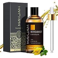 MAYJAM Aceites Esenciales de Bergamota 100 ml, 100% Aceites Esenciales Naturales Puros, Aceite Esencial de Aromaterapia…