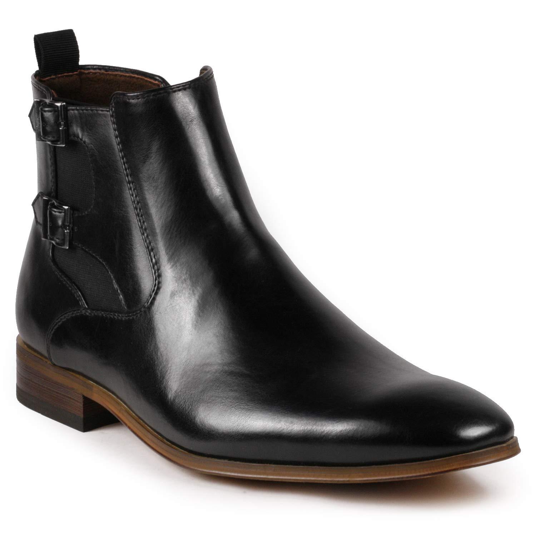 Metrocharm MC143 Chukka Monk Strap Ankle Dress Oxford Boot (6.5, Black)