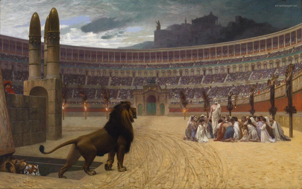 Jean Leon Gerome - The Christian Martyrs' Last Prayer, Size 22x36 inch, Poster art print wall décor