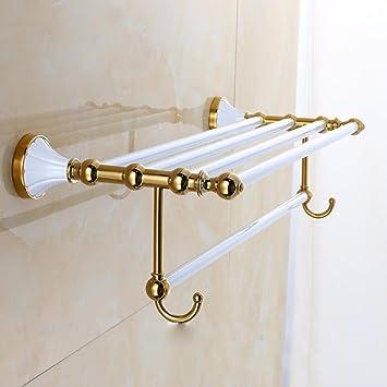 SJQKA Estante de Toalla Golden White Lacquer Toallero Toallero Toallero de pie baño Percha Colgador: Amazon.es: Hogar