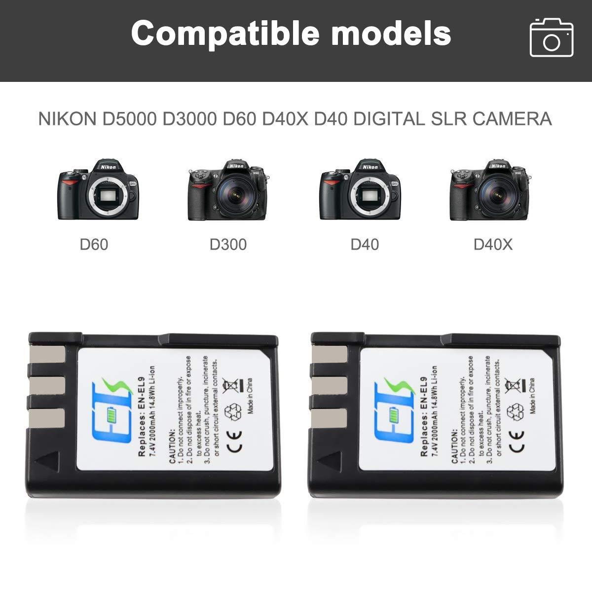 E-TS - Batería de Repuesto para cámara réflex Digital Nikon D5000 ...