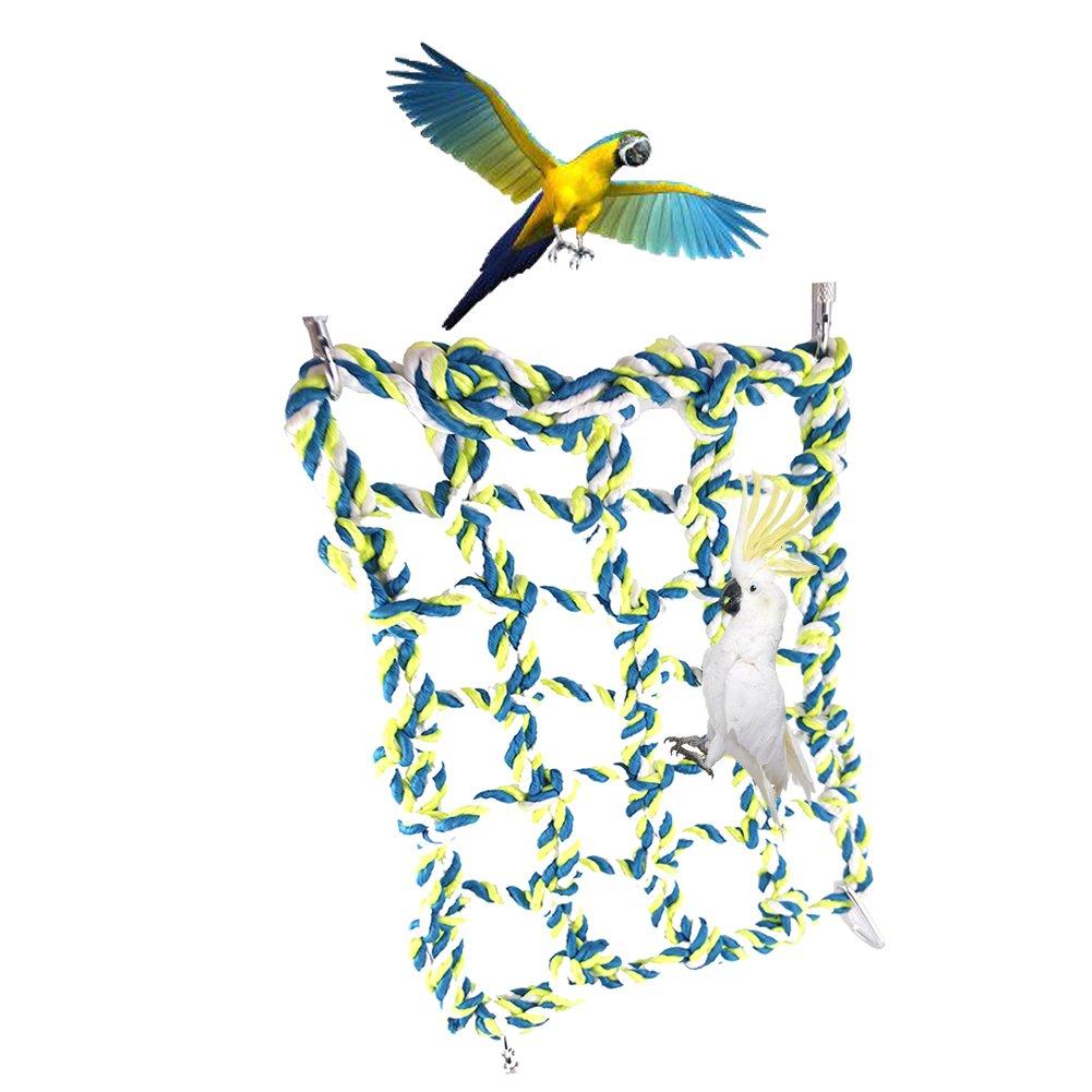 Greatstar Small Animal Grid Hammock, Parrot Bird, Rat and Ferret Swing Thick Chew Rope Hammock Hanging Cage Nylon Rope Nets Toys