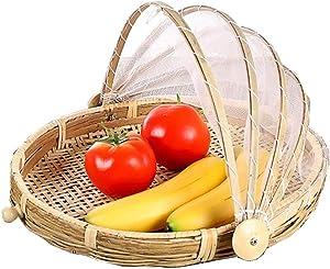 Food Serving Tent Basket - BESTCHANCEUS Hand-Woven Bamboo-Serving-Basket Dustproof-Bug-Proof Mosquitoesor Vegetable Fruits Food Meals Round Dia.30cm