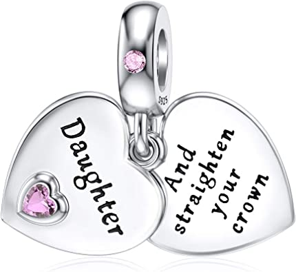 DALARAN 925 Sterling Silver Bead Heart Charms I Love You Fit European Bracelet Necklace