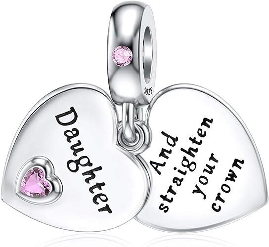 DALARAN Sterling Silver Heart Charm for Pandora Mum Sister Daughter Wife  Charm Family Dangle Charm