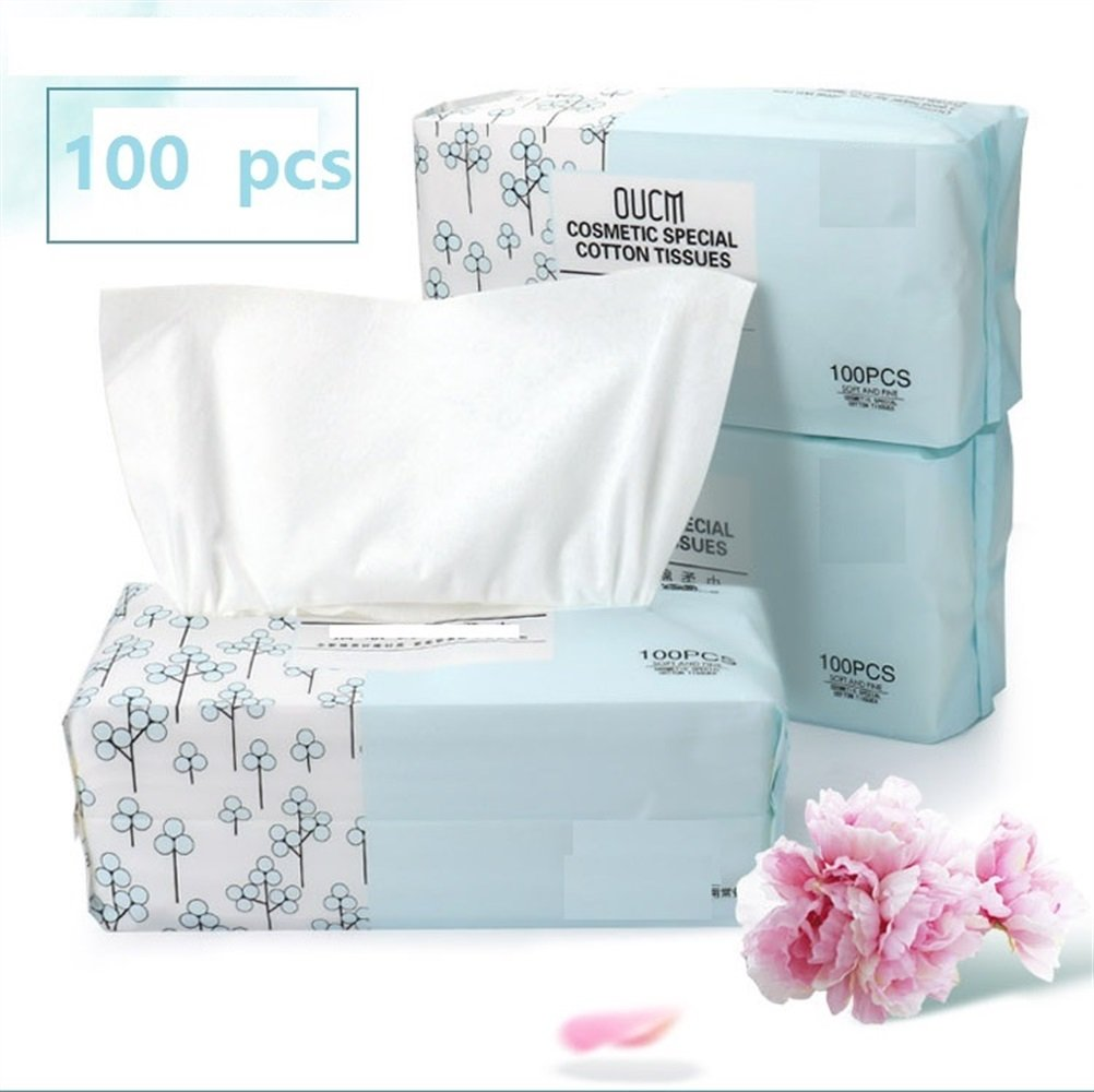 Disposable Face Towel Soft Lint Free Soft Cotton Cleaning Pads Puffs Face Eyes Makeup Nail Removing Cotton(Appr.100pcs) FGVBHTR Beauty