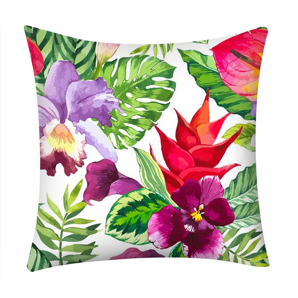 Flowers Leaves Throw Pillow Cases Pgojuni Cushion Cover Polyester Pillow Cover 1pc 45cmx45cm (A)