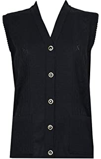 Sky Blue, Large Womens Merry Gold Sleeveless Knitted Cardigans Waistcoat V Neck Button Cardigan Ribbed