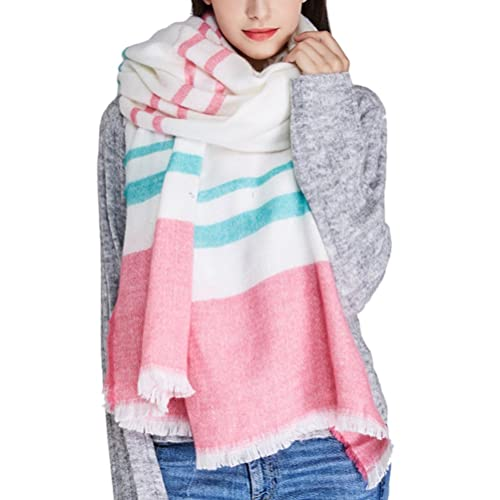 Zhhlaixing estilo de la moda Autumn Winter Fashion Design Striped Elegant Scarf Blue Pink Soft Schal...