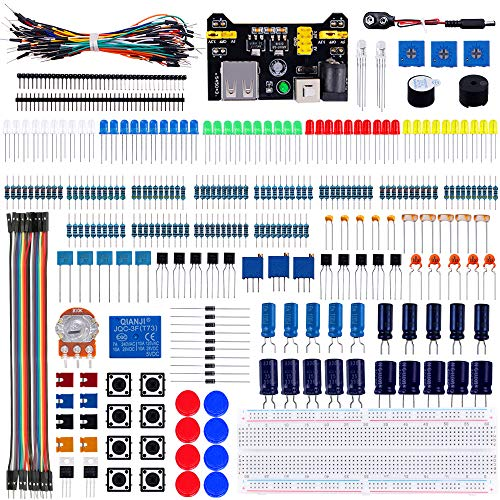 Emakefun Electronics Component Fun Kit with Power Supply Module,Jumper Wire,Potentiometer,Breadboard,Resistor,Capacitor,LED for Arduino UNO,MEGA2560,Raspberry Pi