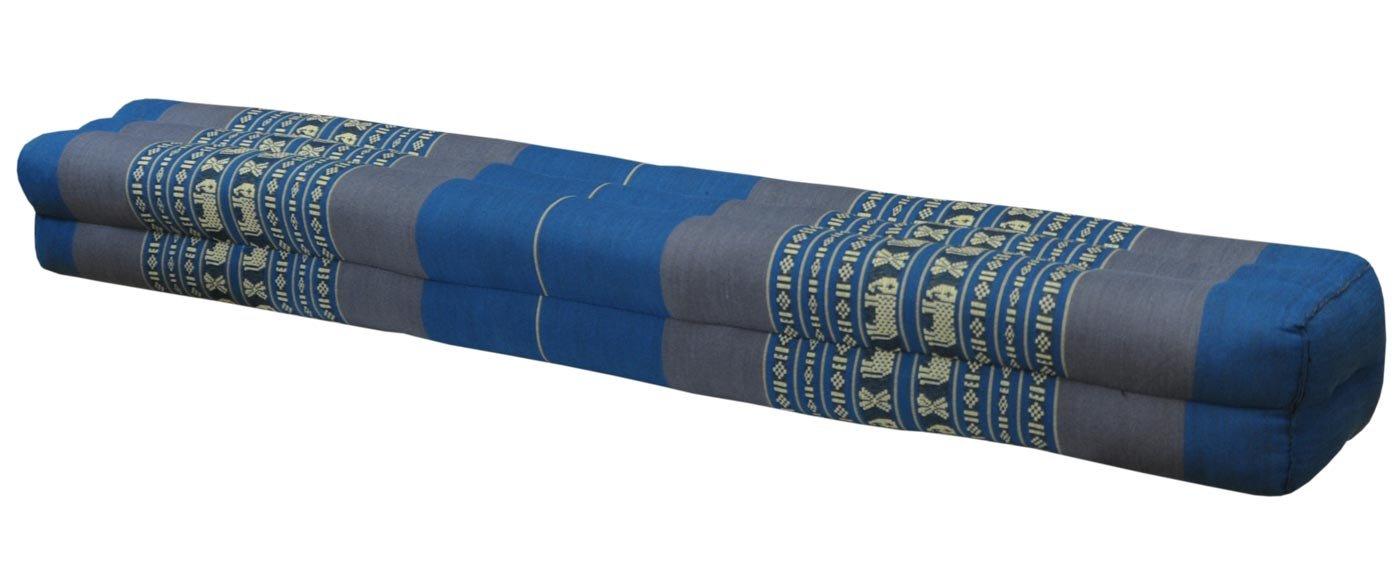 Thai cushion bolster , pillow, sofa, imported from Thaïland, blue/grey, relaxation, beach, pool, meditation garden (81711)