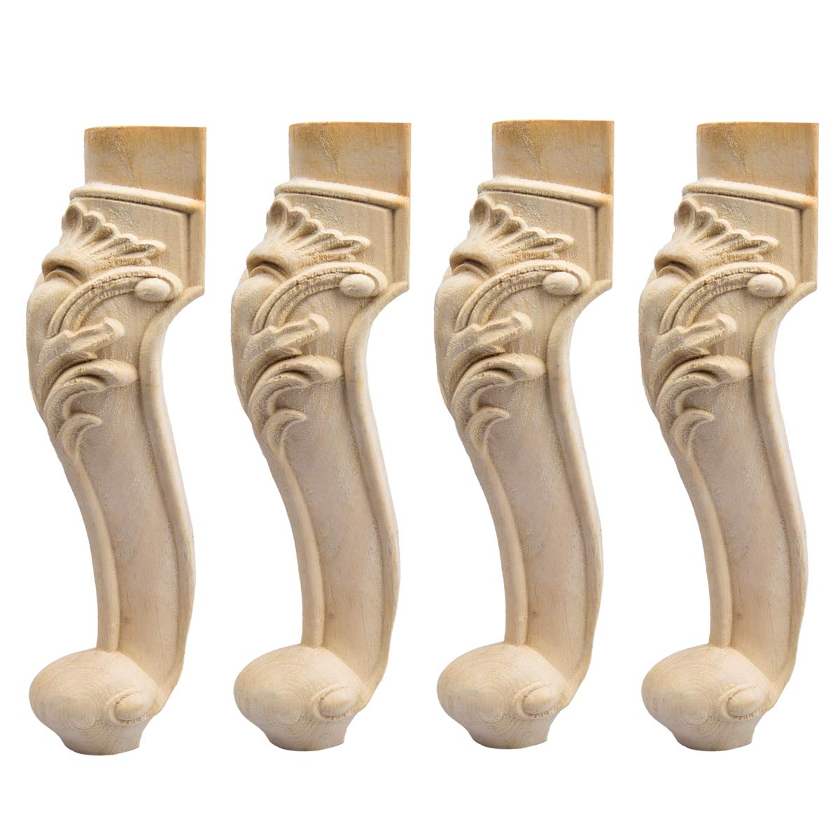 20 inch / 50cm Wooden Furniture Legs, La Vane Set of 4 European Style Solid Wood Carving Furniture Replacement Feet Decoration for Sofa Cabinet Wardrobe Table Loveseat