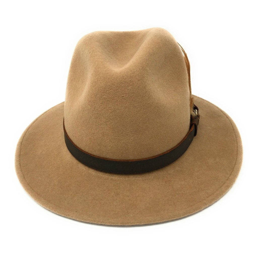 c3c63910798 Cotswold Country Hats Womens Fedora Hat. Showerproof - Teflon Coated. Wool. Leather  Belt Trim. Removable Feather