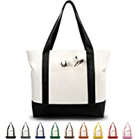 TOPDesign Stylish Canvas Tote Bag with an External Pocket, Top Zipper Closure, Daily Essentials (Black/Natural)