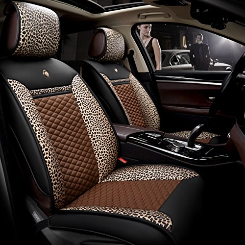Easy to Clean PU Leather Joint with Leopard Print Silk-cotton Car Seat Cushions 5 seats Full Set - Anti-Slip Suede Backing Universal Fit Car Seat Covers for Both Fabric and Leather Car Seats(CoffeePU): Sports & Outdoors