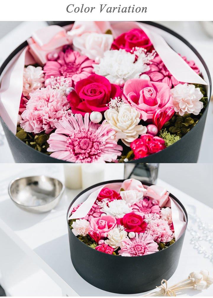 プリザーブドフラワー 超豪華アレンジボックス 丸型 (ピンク) B01NBN9CBL ピンク ピンク