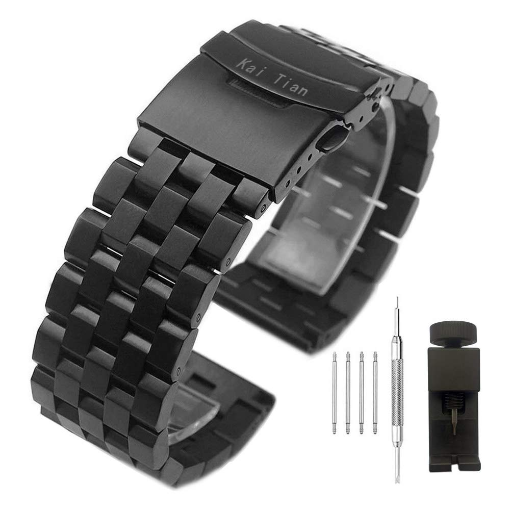Kai Tian Brushed Stainless Steel Watch Band Strap 18mm/20mm/22mm/24mm/26mm Metal Replacement Bracelet with Double-Lock Deployment Clasp for Men Women Black/Silver/Two Tone IP Black