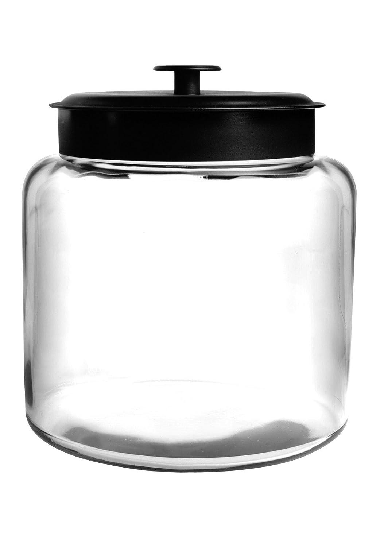 Anchor Hocking Montana Glass Jar with Fresh Sealed Lid, Black Metal, 1.5 Gallon