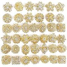 40 pcs Gold Rhinestone Brooches Set Crystal Wedding Invitation Brooch Bouquet Wholesale Lot AMBR664