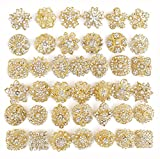 40 pcs Gold Rhinestone Brooches Set Crystal Wedding Invitation Brooch Bouquet Wholesale Lot AMBR664