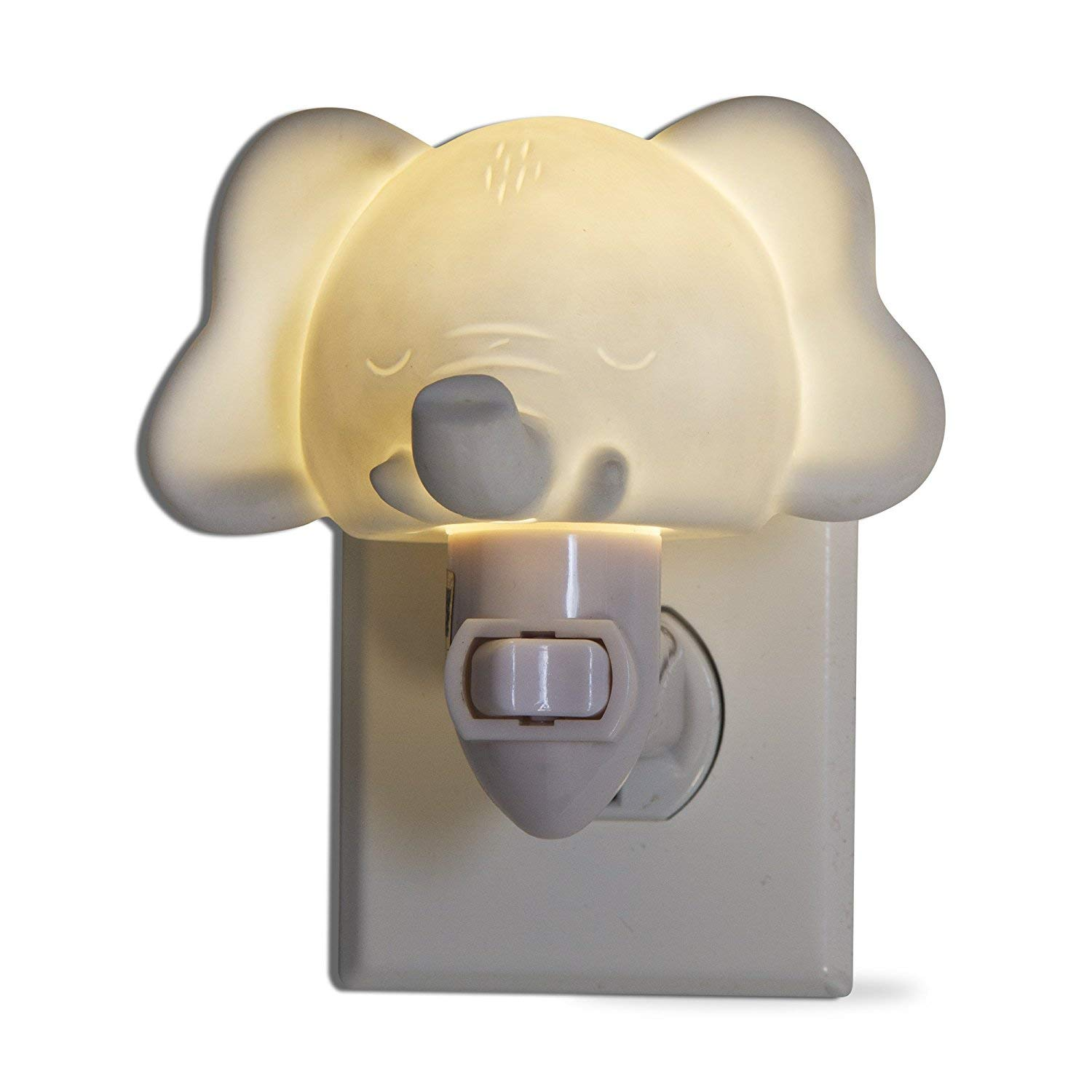 tag - Elephant LED Plug-In Night Light, A Perfect Addition to Any Child's Room or Nursery, White