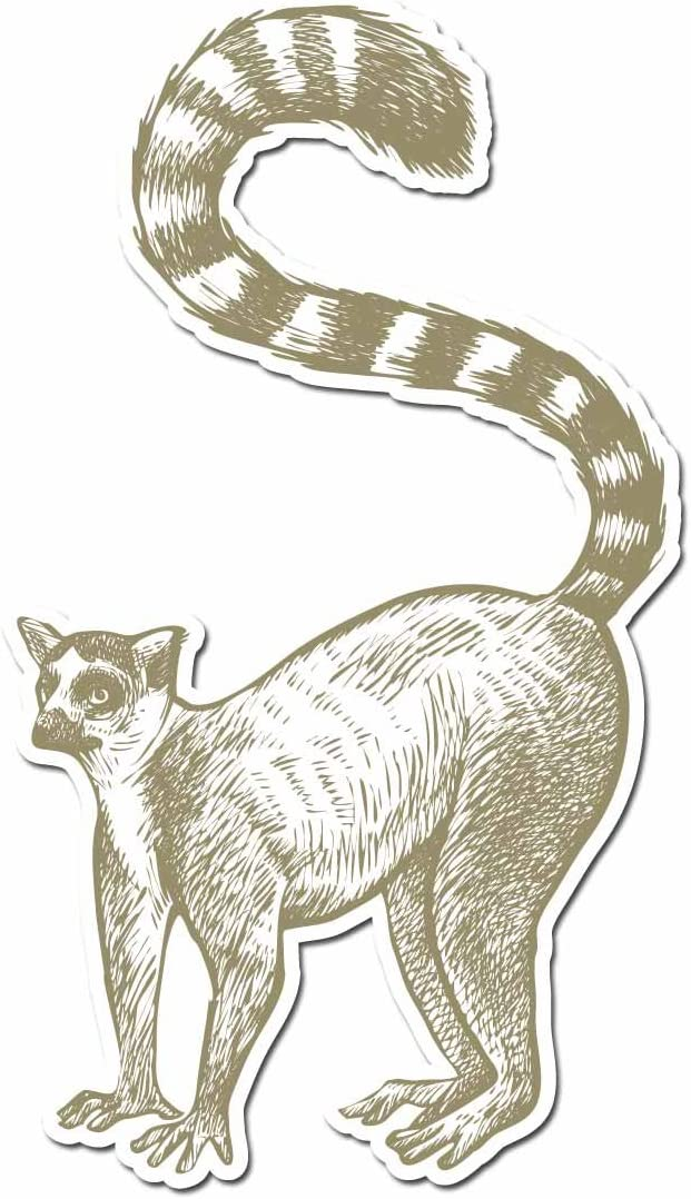 """Lemur Pencil Drawn Full Color - 5"""" Vinyl Decal for Car, Macbook, or Other Laptop"""