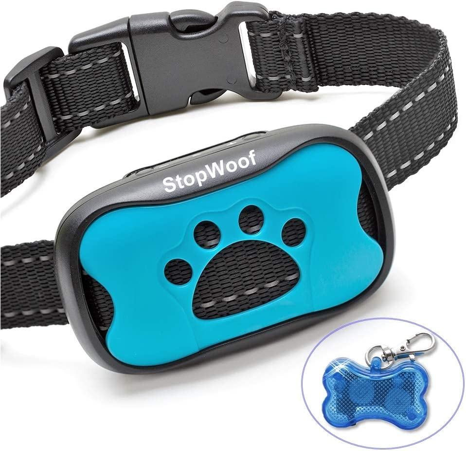 StopWoof Dog Bark Collar - Humane Care Modes, Vibration & Sound - No Shock Training Device For Small, Medium, Large Breeds - No Harm Deterrent Vibrating Control - Reflective & Automatic Without Remote