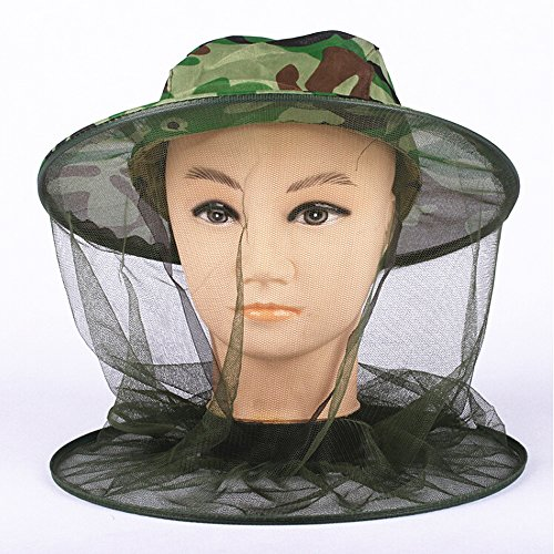 Ezyoutdoor Mosquito Fly Insect Bee Fishing Mask Face Protect Hat Net for Fishing Hunting Survival Bush Jungle Travel (Halo Netting)
