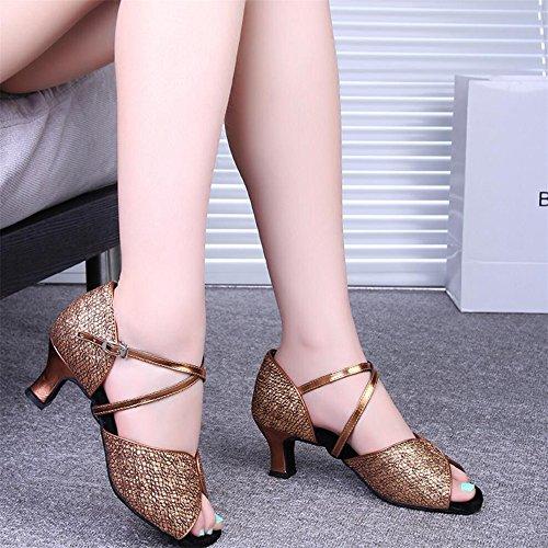 Zapatos De Baile Latino Con Adultos En Los Zapatos De Cuero Bronce 7.5cm