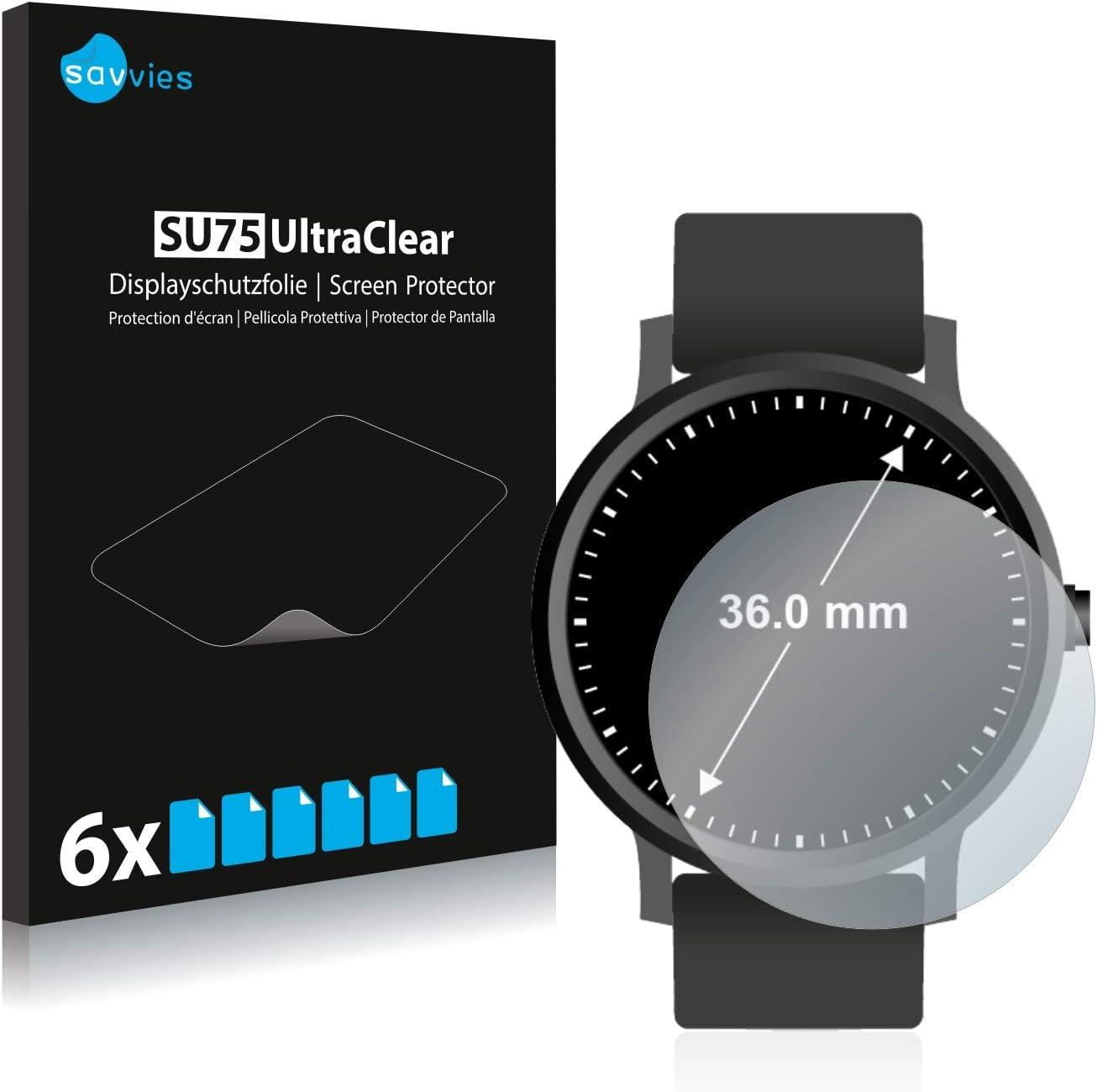 savvies Protector Pantalla Compatible con Relojes (Circular, Diámetro: 36 mm) (6 Unidades) Pelicula Ultra Transparente