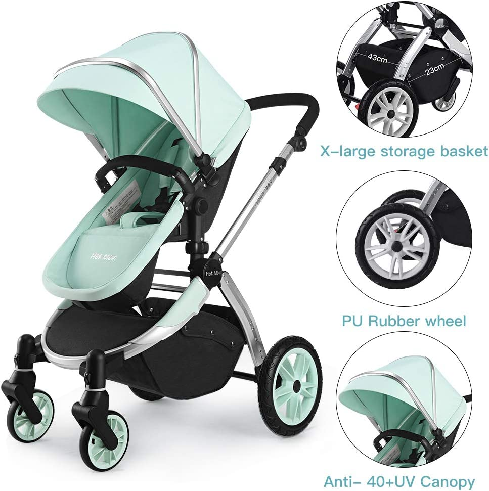 Chariot poussette combin/ée 2 en 1 Hot Mom cochecito 2020 combine avec nacelle et si/ège enfant 889 Vert