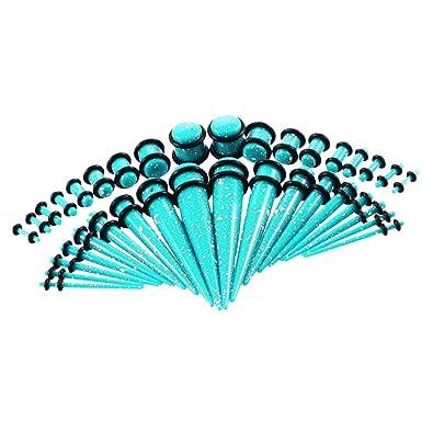 IPOTCH 36x Túnel de Oídos Tapones Perforación Piercing Dilatador de Acrílico para Orejas - Cielo Azul: Amazon.es: Joyería