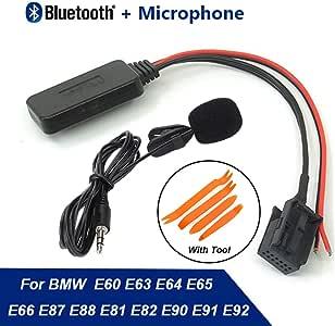Car Bluetooth Receiver Module AUX-in Audio Music Cable Adapter 12Pin Port + Tool & Microphone For BMW X5 X3 Z4 E83 E85 E86 E53 MINIONE COOPER