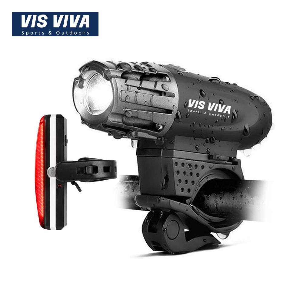 Vis Viva USB Rechargeable Bike Light Set – Powerful 300 Lumens LED Bicycle Headlight Tail Light – Super Bright Front Light Rear Light Cycling Safety
