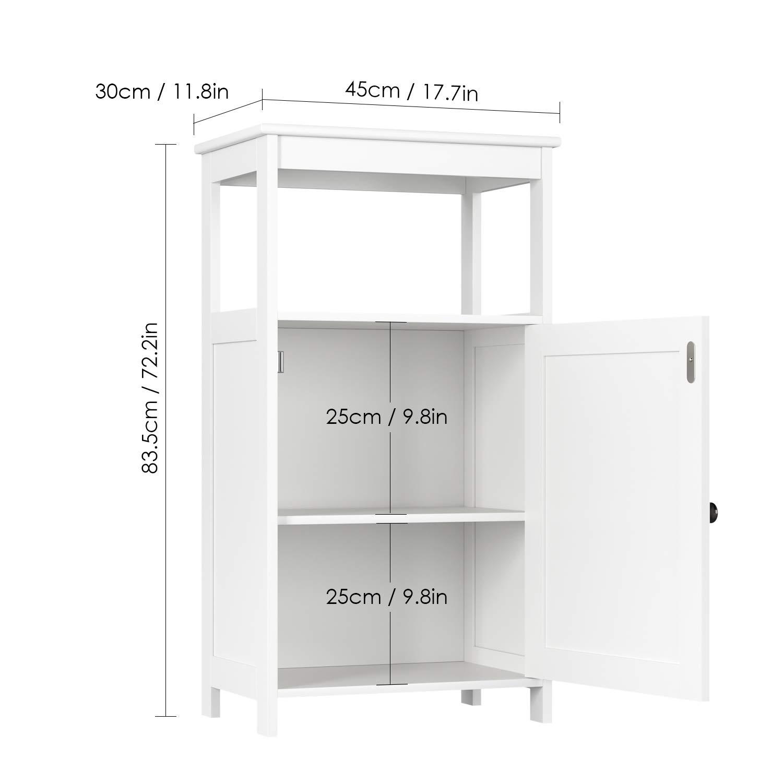 Homfa Armadio di Legno per Bagno e Camera da Letto Mobili a Terra Comodino Contenitore Multiuso Bianco 45 x 30 x 83.5cm
