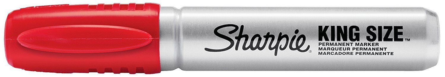 Sharpie Pro King Size Permanent Markers, Chisel Tip, Red, Case of 12
