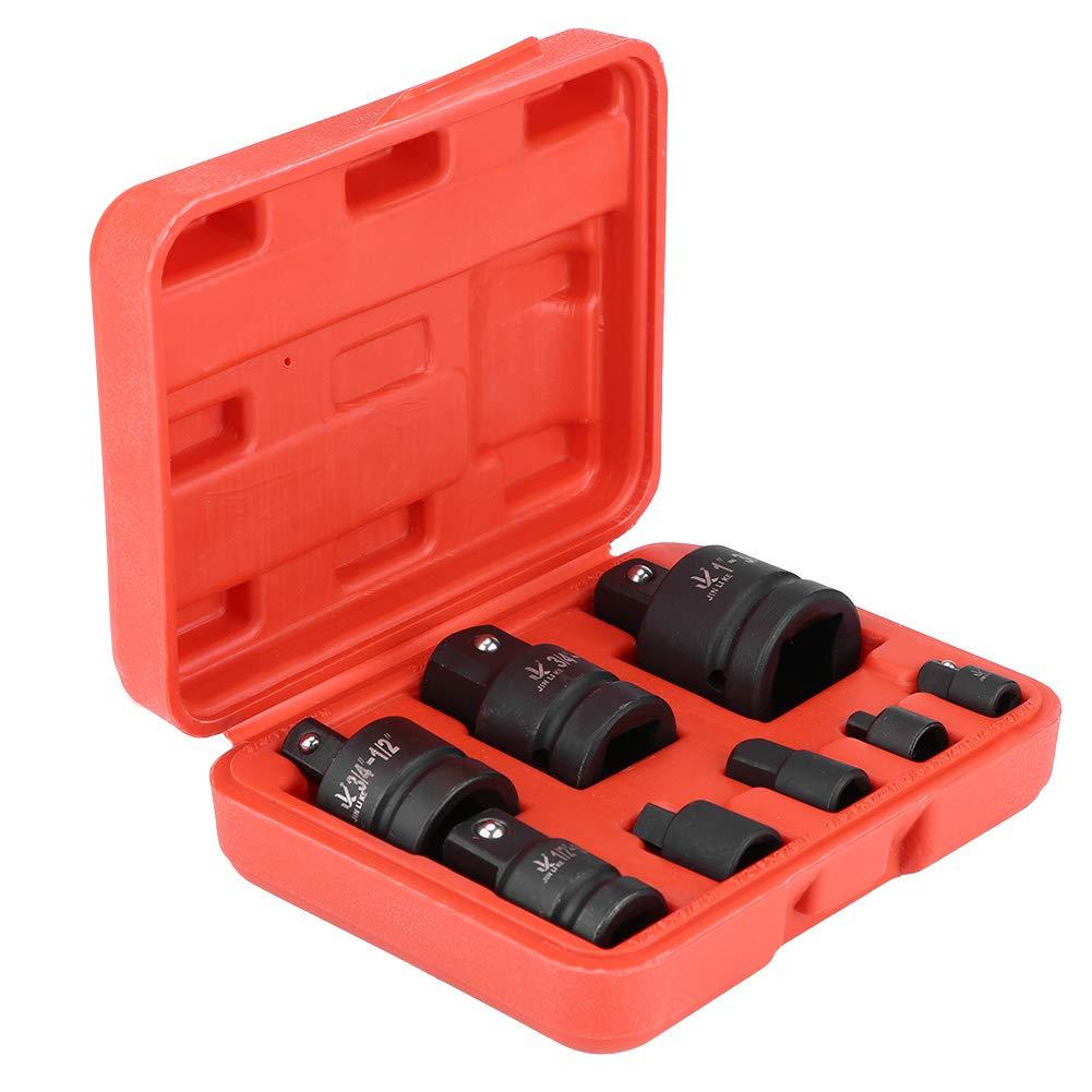da 1//4 1//2 3//8 3//4 1 con custodia in plastica rossa Set di 8 adattatori riduttori per presa a impatto