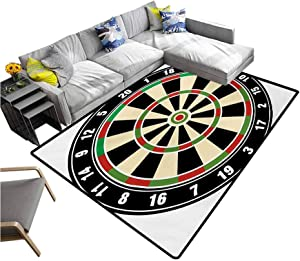 "Sports Carpet mat Dart Board Numbers Sports Accuracy Precision Target Leisure Time Graphic Printing Rug Pads Vermilion Green Black (6'6""x8')"