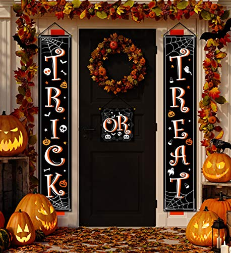 Halloween Window Silhouettes 2019 (Halloween Banner Hanging Decorations - Trick or Treat Porch Sign Front Door Home Outdoor Party Decor)