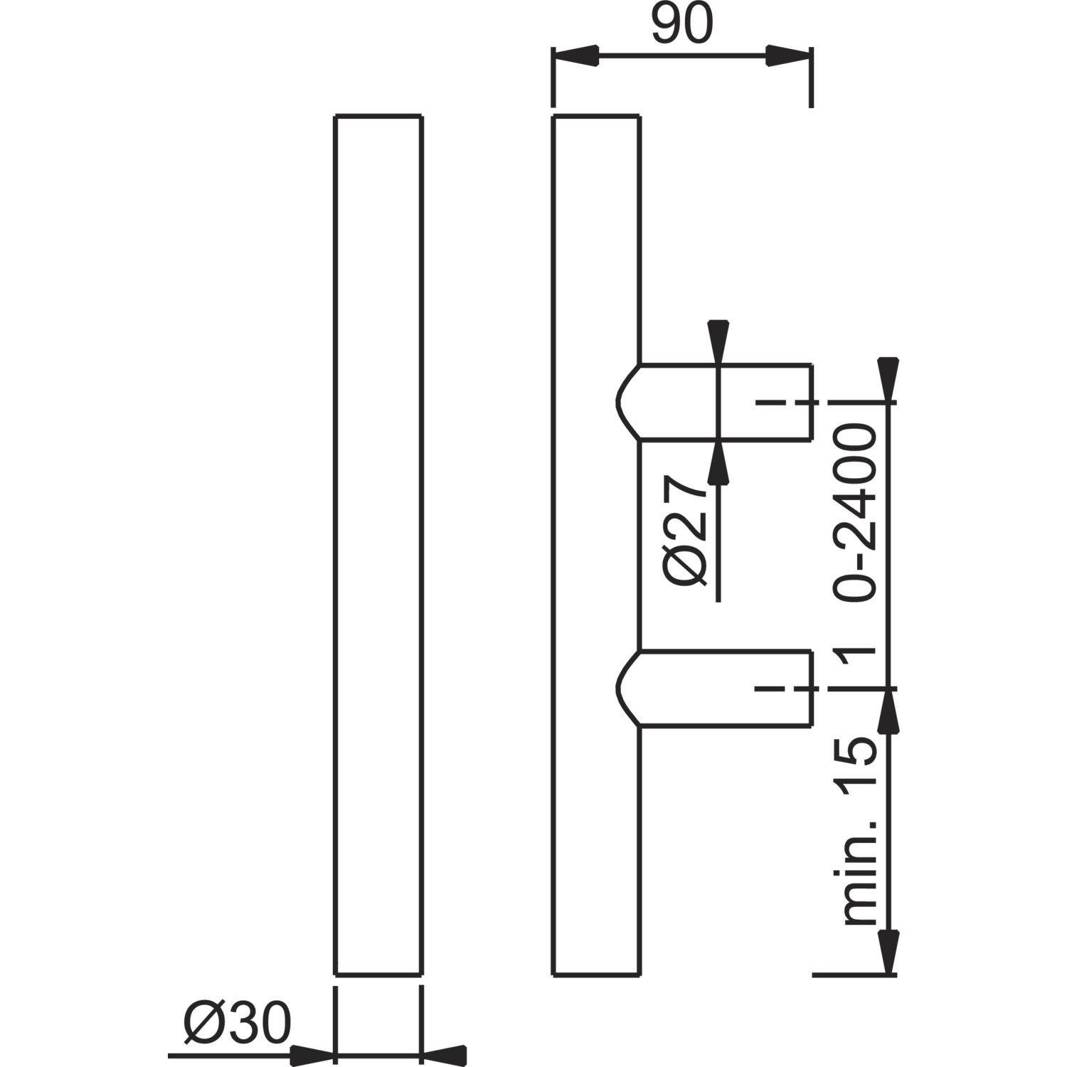 Stossgriff f/ür Haust/ür Ausf/ührung: schr/äg Edelstahl matt HOPPE Stangengriff E5012-500//300mm