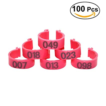 100PCS Bird Leg Bands Durable, Reusable Colored Plastic Poultry Bands 16mm  Leg Band For Chickens, Ducks, Goose and More Numbered 001 To 100 Clip-On