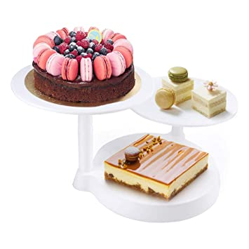 Himaly Bandejas para Tartas Plástico de 3 Pisos Soporte de Torta Decoración de Pasteles Expositor para