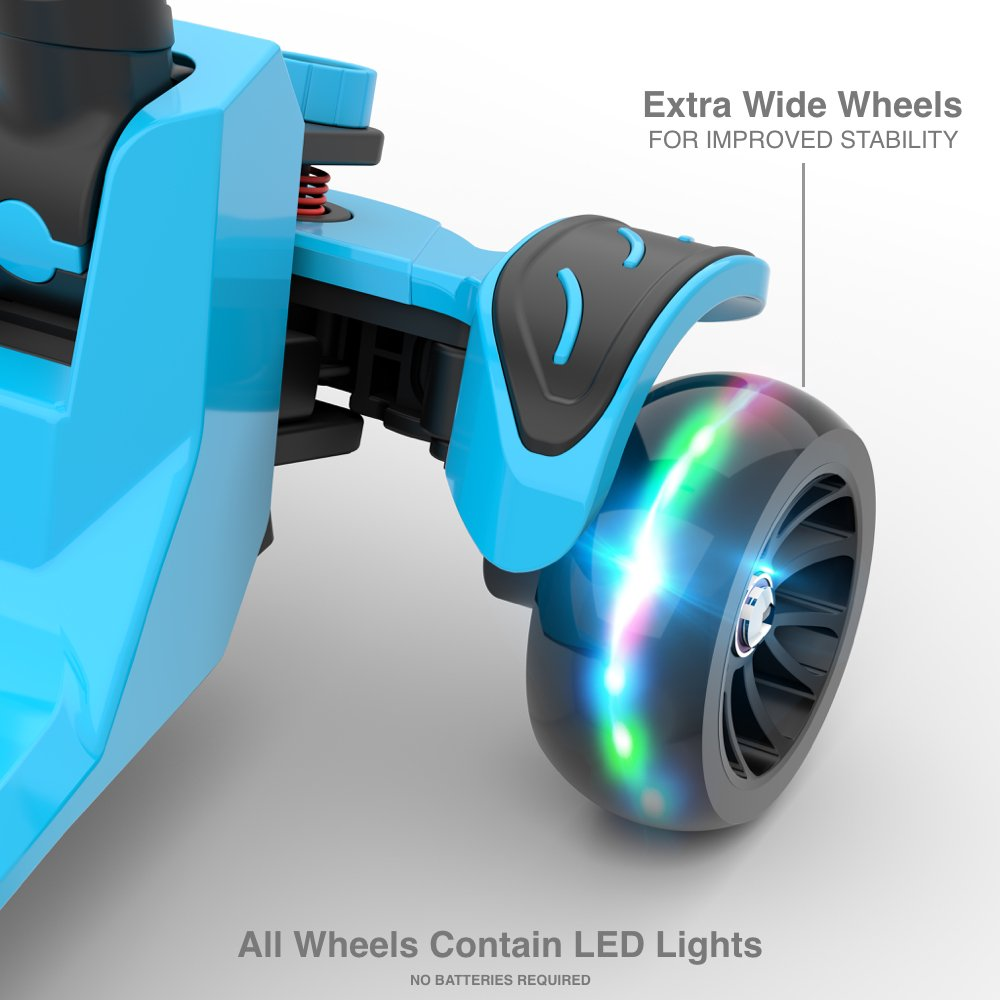 6KU Kids Kick Scooter with Adjustable Height, Lean to Steer, Flashing Wheels for Children 3-8 Years Old Blue by 6KU (Image #4)