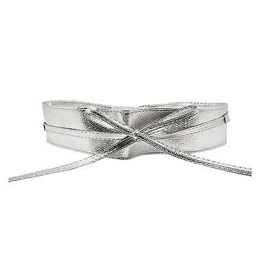 36e24968d97 Femme Ceinture PU Cuir Souple Large Cravate pour Robe Boho Serre Taille Haut  - Argenté