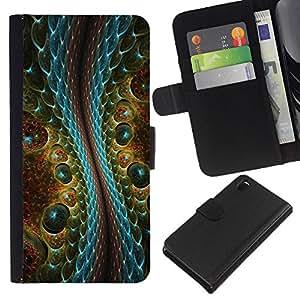 Planetar® Modelo colorido cuero carpeta tirón caso cubierta piel Holster Funda protección Para Sony Xperia Z3 D6603 ( Magia Arte Reptil Cocodrilo Diseño Extranjero )
