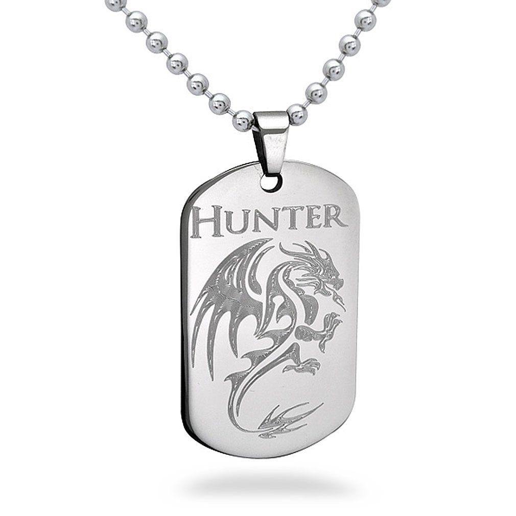 Stainless Steel Dragon Hunter Dog Tag 26IN