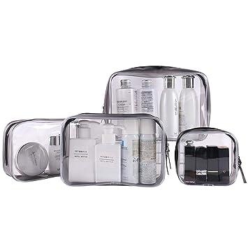 Bolsa Maquillaje Transparente 3 Piezas Bolso de Tocador Bolsa de Viaje Transparente Bolsa de Cosm/éticos a Prueba de Agua Gran Capacidad Port/átil Para Hombres y Mujeres